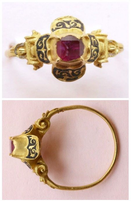 A 16th century ring with a high quatrefoil bezel featuring a table-cut ruby in high-karat gold.