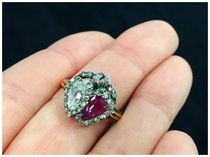 A glorious beautiful diamond and ruby double ring from Victorian England, circa 1880.