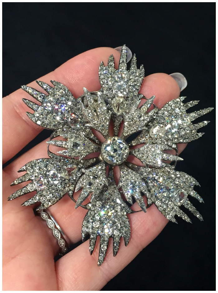 A glorious diamond flower piece of jewelry from the late 1700's to early 1800's. At Spicer Warin.