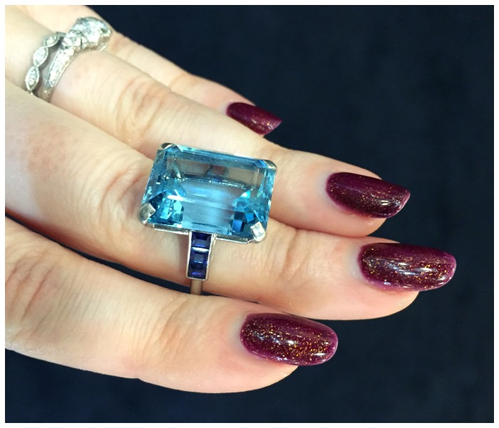 A magnificent vintage ring by Cartier with aquamarine and sapphires. At Hancock's.