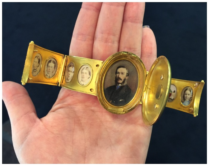 A rare and exquisite portrait bracelet with family portraits. Dedicated to a wife from her husband for their 26th wedding anniversary in 1864.