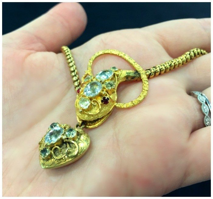 A remarkable antique snake necklace in gold with gemstones. At Keyamour.
