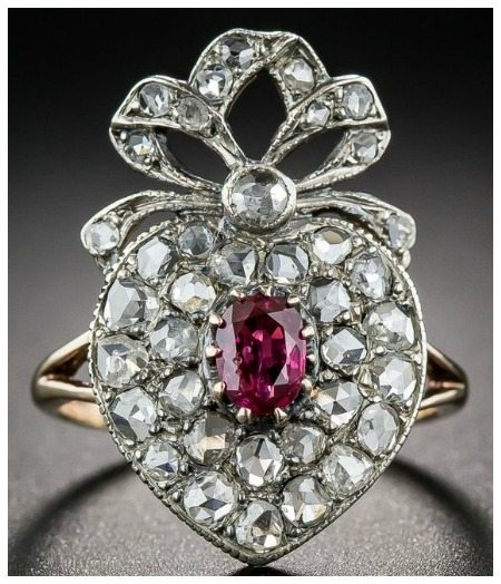 An antique ruby and diamond crowned heart ring from Lang Antiques; circa 1900.
