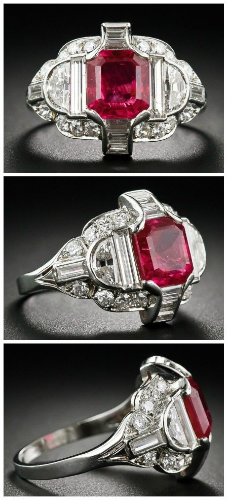 An exceptional Art Deco Burma ruby ring in platinum with diamonds. Circa 1930. At Lang Antiques.