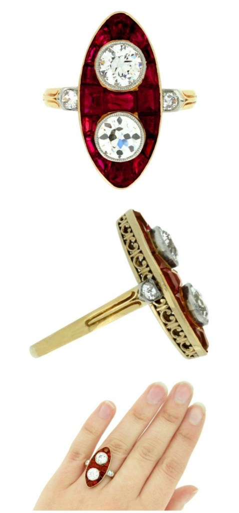 An unusual antique ring with 2.50 carats diamonds and 5 carats of rubies set in platinum-topped gold. Circa 1900.