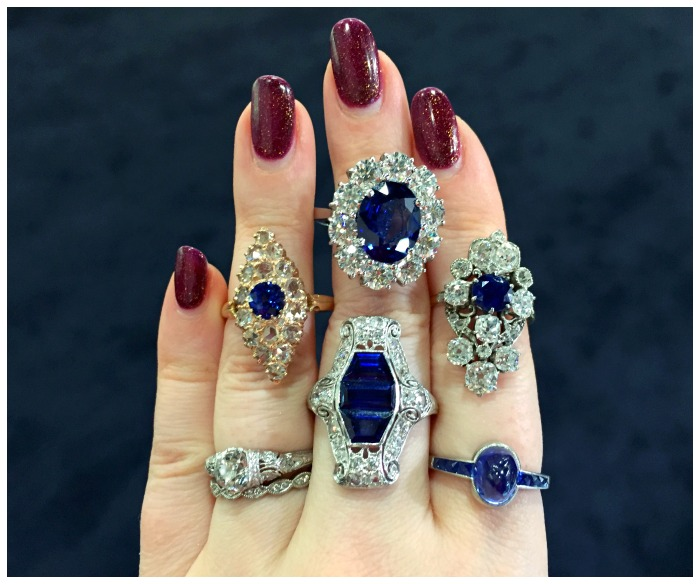 Antique sapphire and diamond rings from Craig Evan Small.