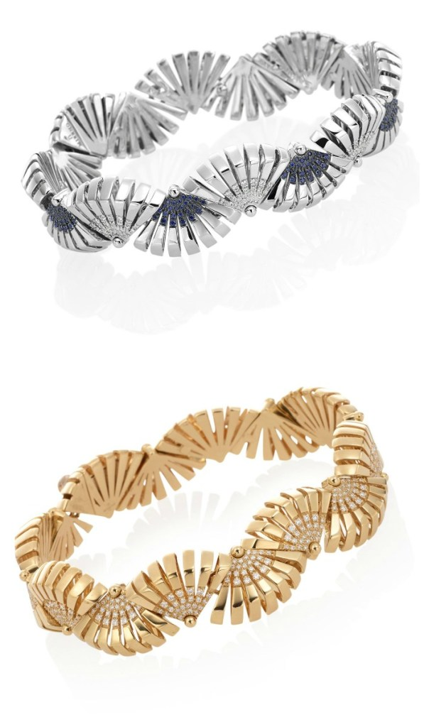Bracelets from the Miseno Ventaglio collection, in rose gold with diamonds or white gold with diamonds and sapphires.
