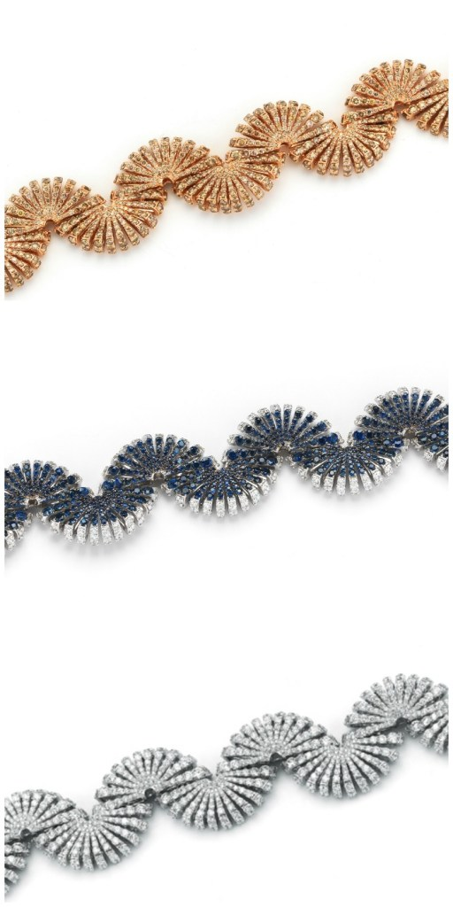 Bracelets from the Miseno Ventaglio collection with diamonds or diamonds and sapphires in white or rose gold.