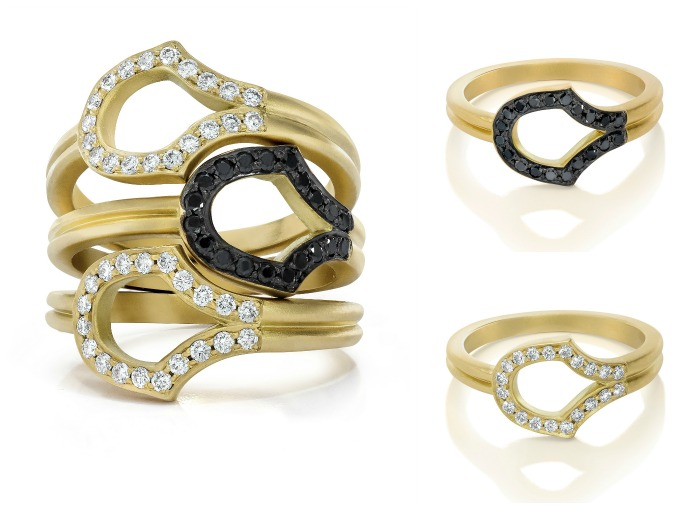 Doryn Wallach Scale rings in gold with black or white diamonds
