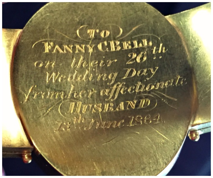 Inscription on a rare and exquisite portrait bracelet with family portraits. Dedicated to a wife from her husband for their 26th wedding anniversary in 1864.