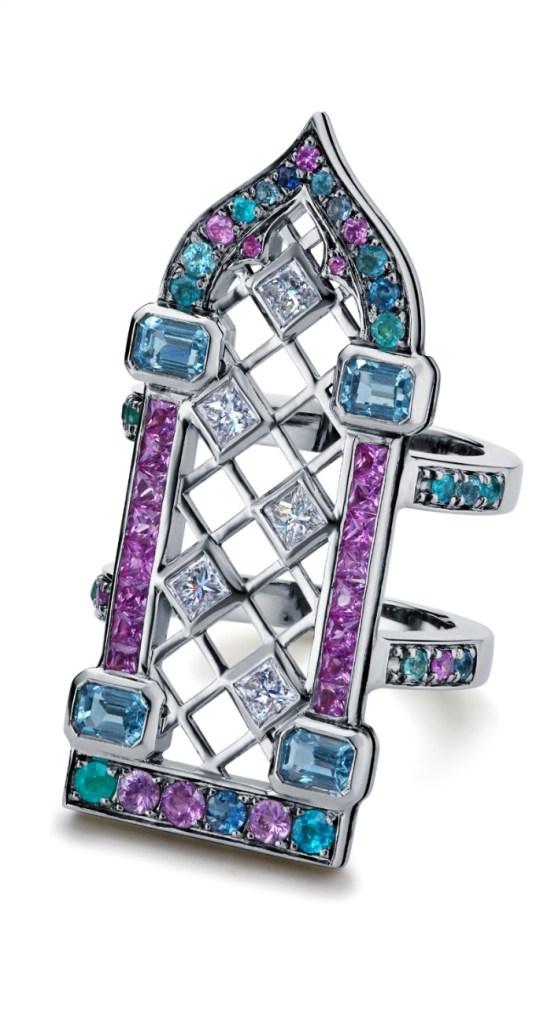 Maria Kodavi's Venetian Window ring, with Paraiba tourmalines, sapphires, topaz, and diamonds in 18kt gold.