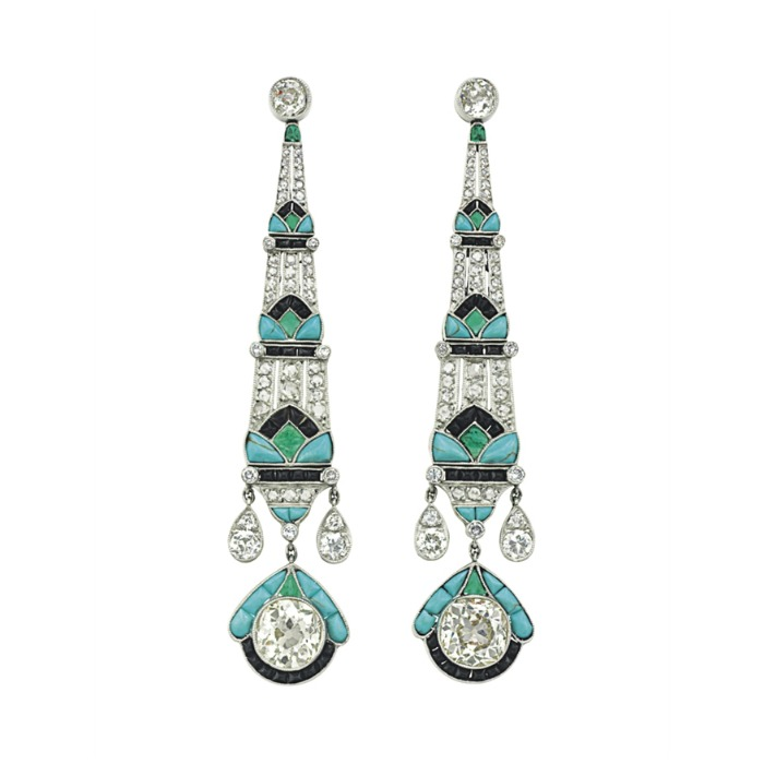 The dreamiest emerald, onyx, diamond, and turquoise earrings. 3 inches long, set in platinum. The diamonds are rose cut.