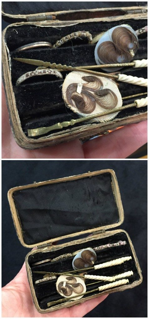This unusual antique is a kit that would have been used for making hair rings in the Victorian era. At Lucy Verity.