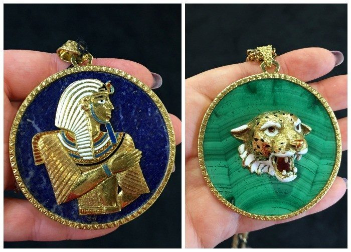 Two fantastic pendants from Craig Evan Small - one with an Egyptian revival motif on lapis, and the other with a tiger on malachite.