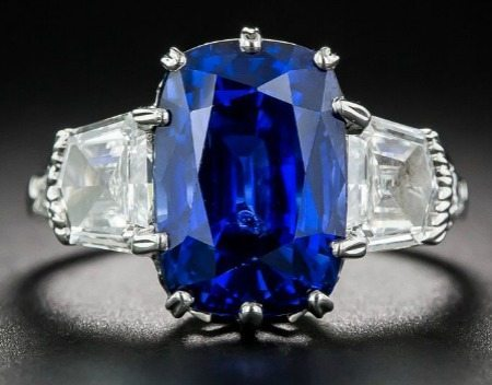 A 7.18 Carat no heat sapphire platinum and diamond ring.