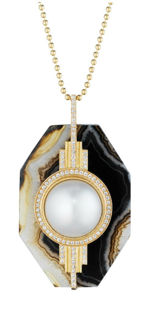 A stunning agate and pearl pendant with diamonds from Doryn Wallach Jewelry.