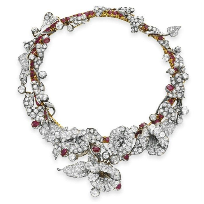 A stunning late ruby and diamond flower necklace from Victorian era, circa 1880.