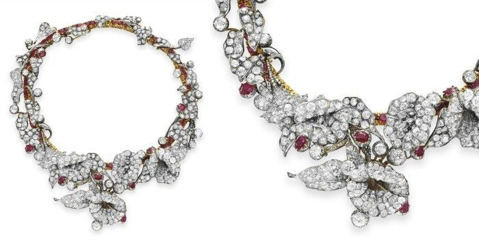 An exquisite 19th century ruby and diamond flower necklace, with detail view.