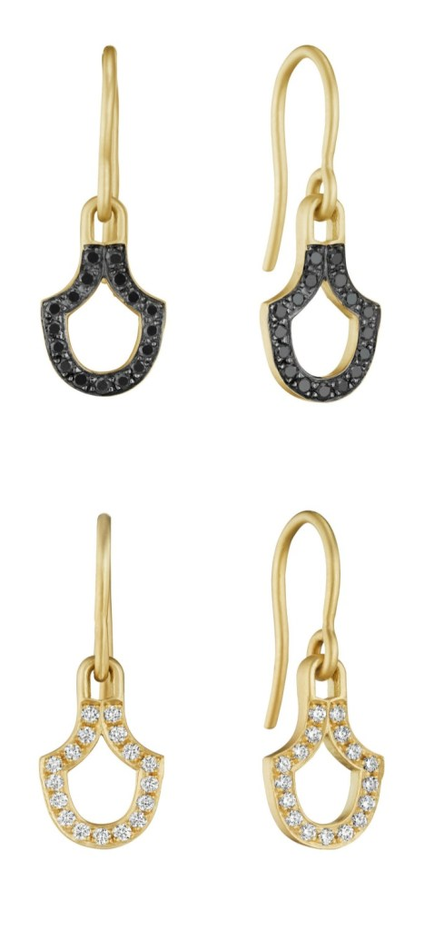 Earrings by Doryn Wallach jewelry in gold with black or white diamonds.