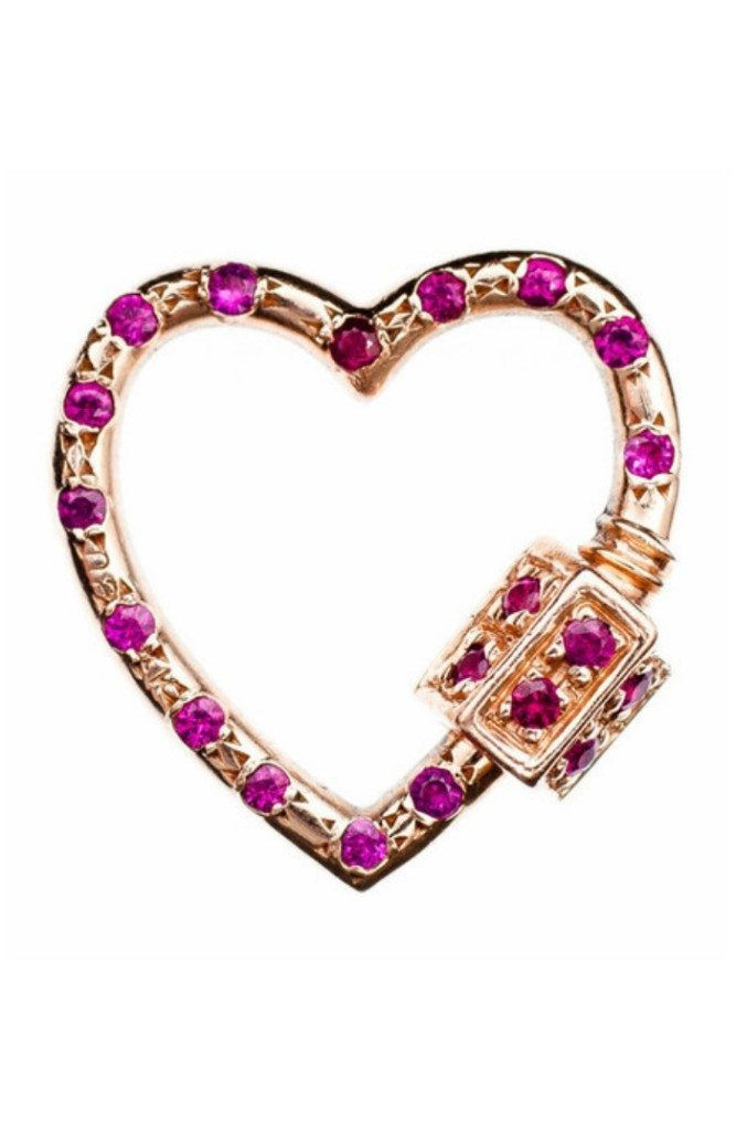 The Marla Aaron heart lock in gold with rubies