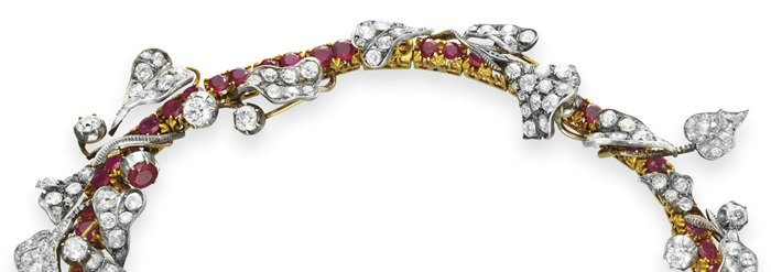 Top detail view; a stunning late ruby and diamond flower necklace from Victorian era, circa 1880.