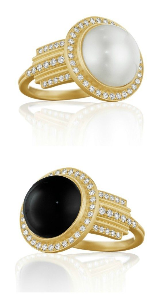 Two rings by Doyn Wallach; in gold with diamonds and a large pearl or black onyx.