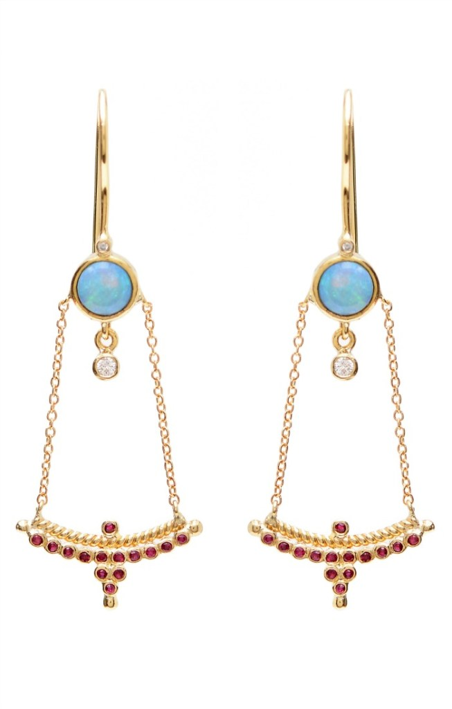 A beautiful pair of gold and gemstone earrings from Unhada jewelry's Diadem collection