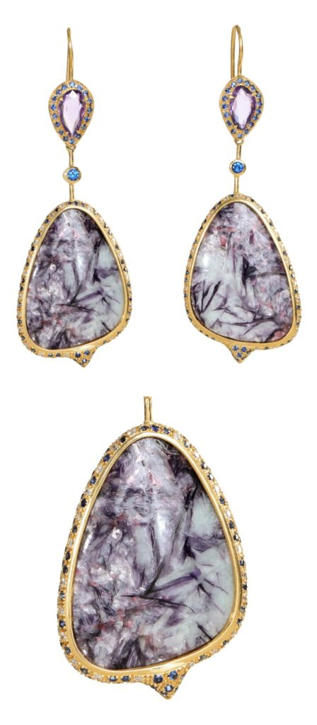 A magnificent pair of Unhada jewelry earrings featuring incredible leopoldite stones