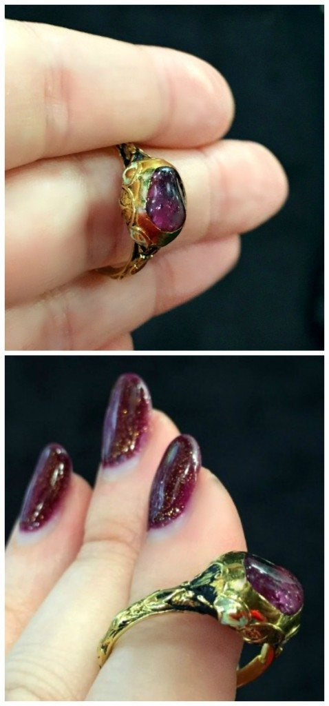 A rare Renaissance era ring from the year 1590. Ruby in gold with white and black enamel.