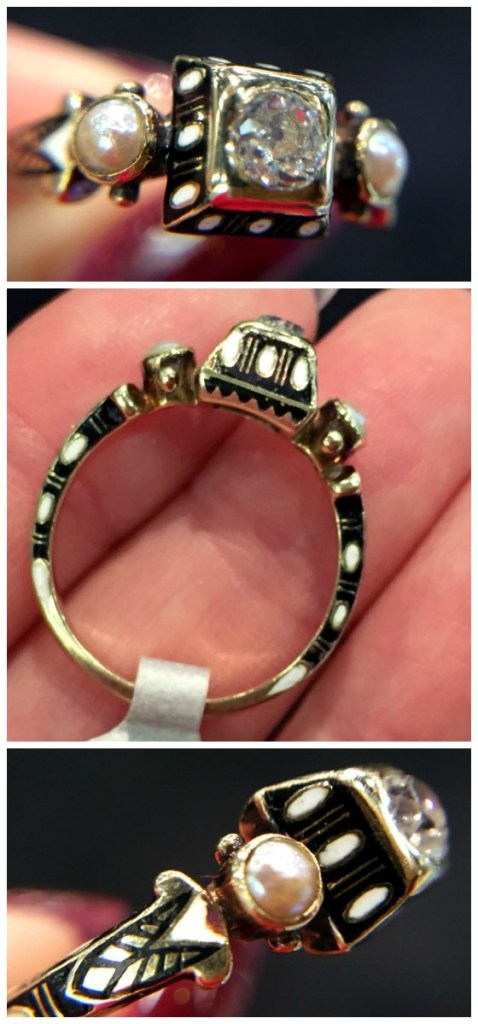 A rare antique Renaissance revival diamond ring in gold with black and white enamel details. At Roy Rover.