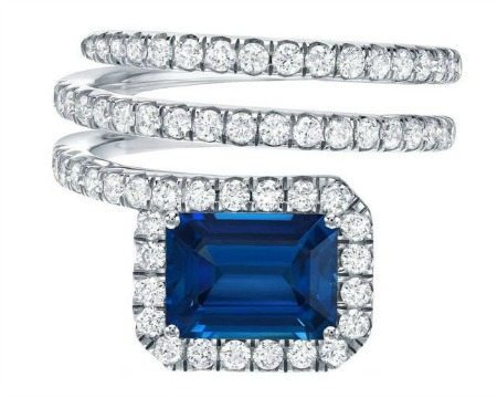 A royal blue 2.07 carat sapphire and diamond ring by Tamir.
