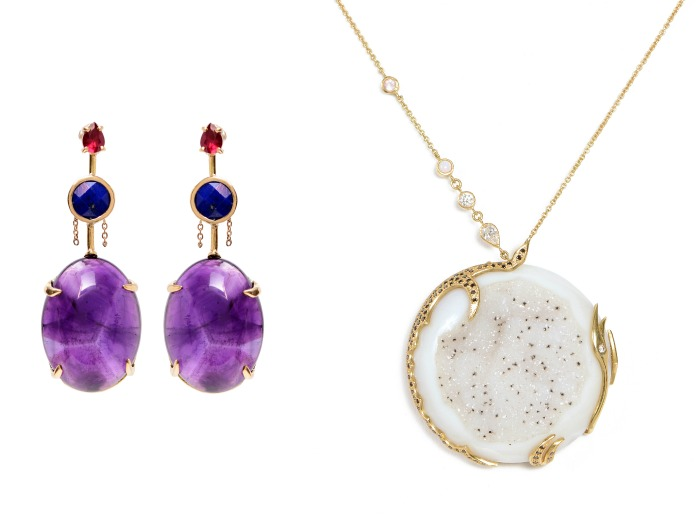 A stunning pair of gemstone earrings and a druzy necklace by Unhada jewelry
