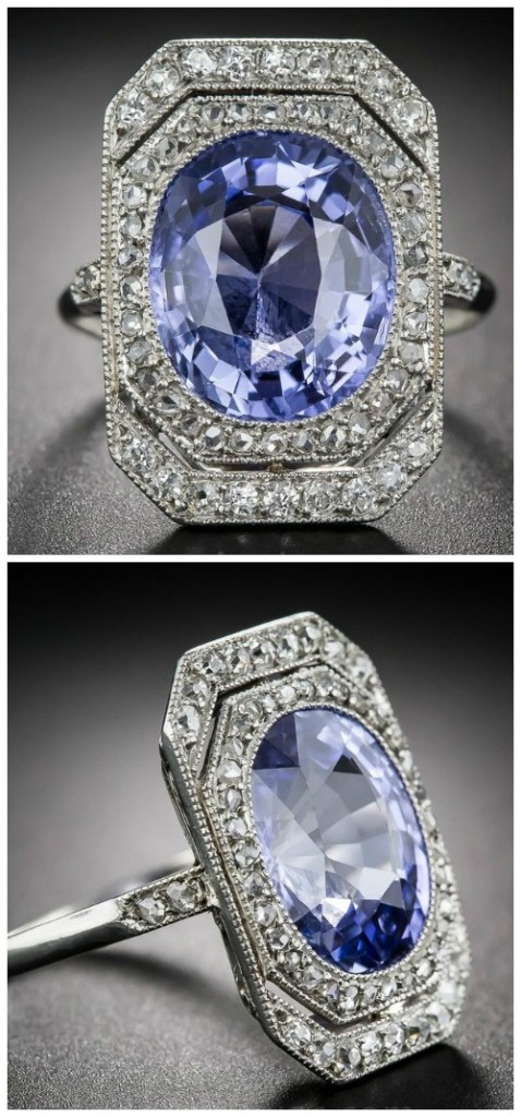 An antique French Belle Epoque ring with a 7 carat sapphire and a diamond-set platinum setting.
