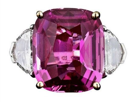 An incredible pink sapphire ring featuring a 16.37-carat Pink Ceylon sapphire center stone. At M.S. Rau.