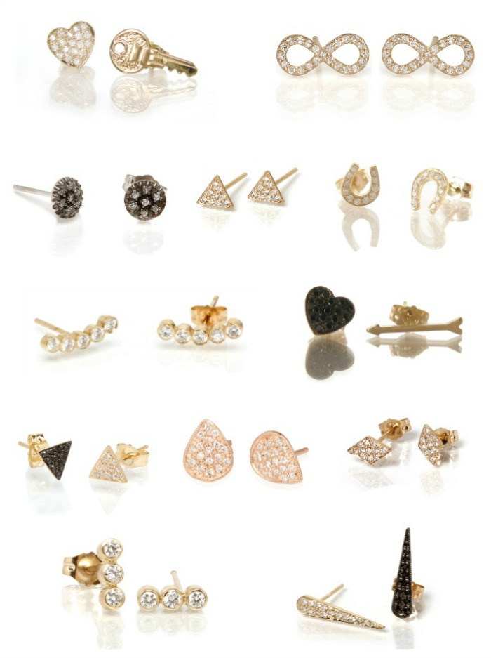 Edgy, stylish diamond stud earrings by Zoe Chicco.