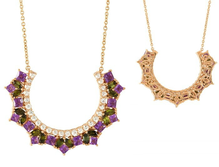 The Lira necklace by Ayva jewelry, with gemstones and diamonds in gold.