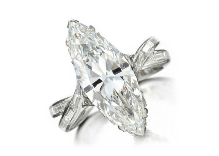 A beautiful 1950's marquise cut diamond ring by Sterlé. At FD Gallery.