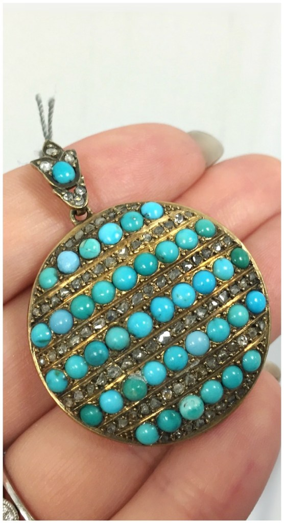 A glorious antique Victorian turquoise and diamond locket in gold. At A Brandt and Son.