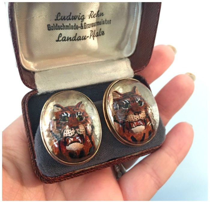 A pair of Victorian reverse carved rock crystal tiger cufflinks, circa 1900. In 15k gold.