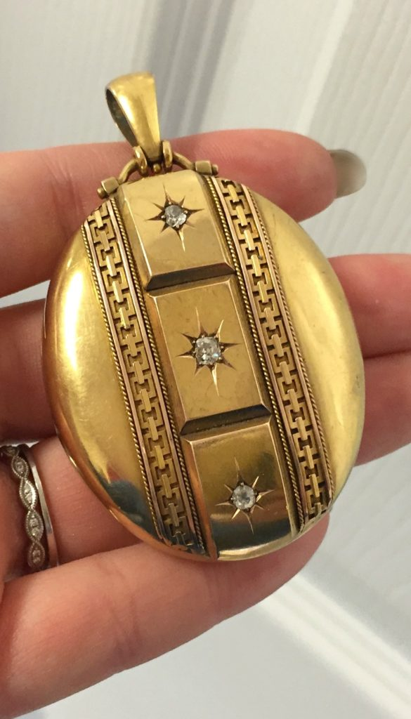An incredible gold Victorian locket with diamonds. At A Brandt and Son.