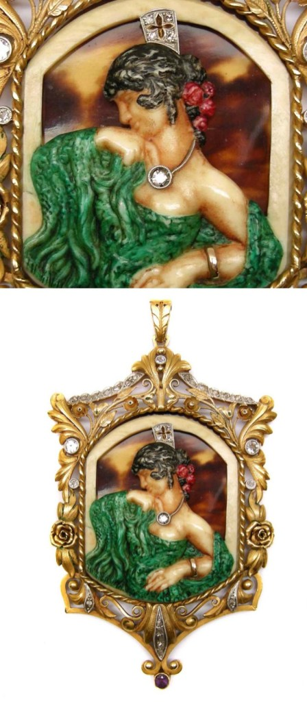 Antique gold and gem set pendant with a flamenco dancer by Fuset y Grau, Barcelona, circa 1910. A beautiful example of the Catalan variant of Art Nouveau style.
