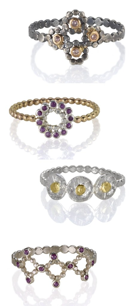 Handmade mixed metal and gemstone rings by Sophie Ratner jewelry.