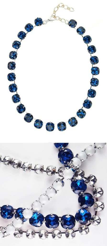 The Eclat necklace in cobalt crystal from JY Jewels. Shown with several other pieces from the JY Jewels Insouciance collection.