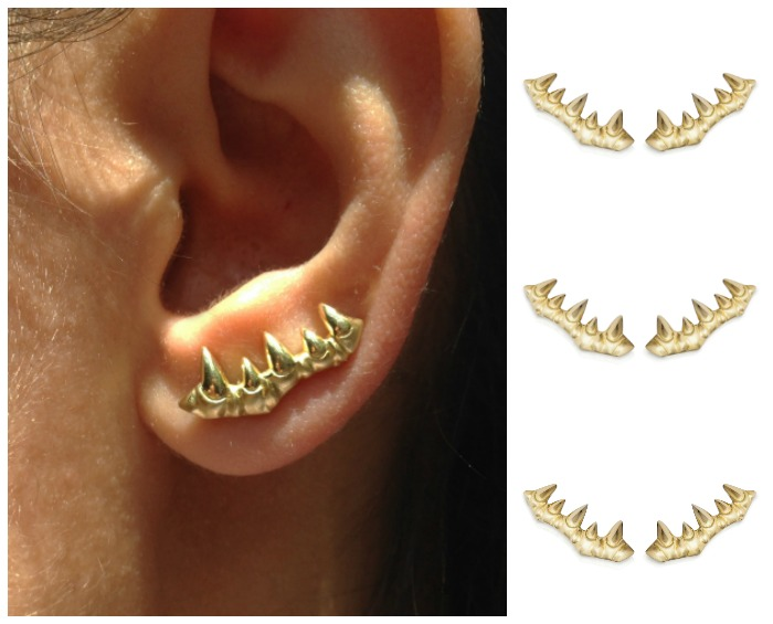 The tooth ear climber from Lisa Kim's newest jewelry collection, The Seabeast. In gold with a textured matte finish.