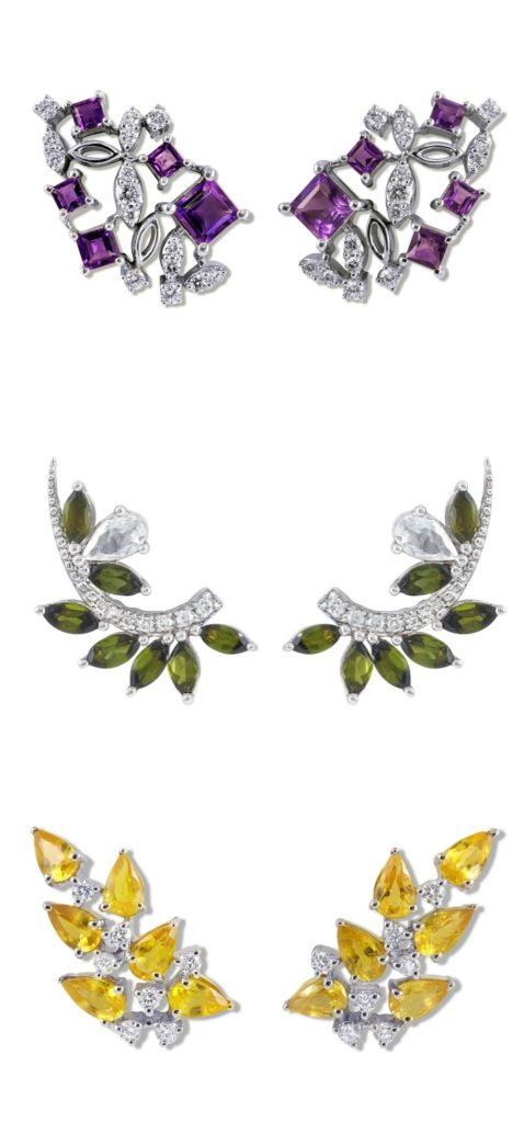 Three beautiful pairs of diamond and gemstone earrings by Ayva jewelry