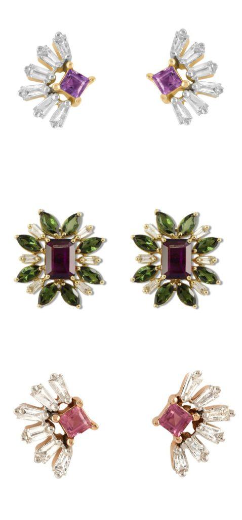 Three glamorous pairs of diamond and gemstone stud earrings by Ayva jewelry