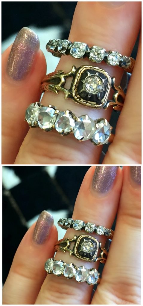 Three stunning antique diamond rings. Victorian era or older. At A Brandt and Son.