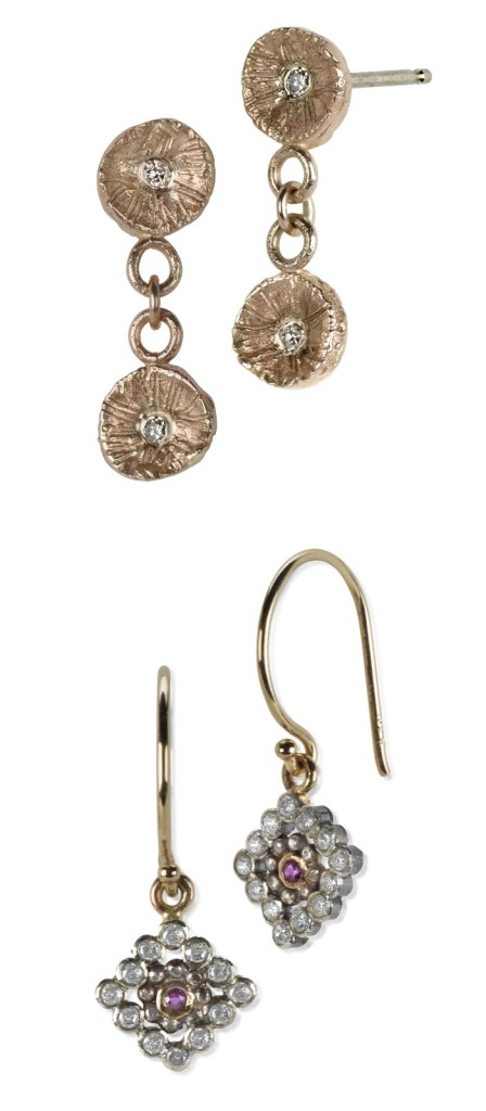 Two pairs of handmade mixed metal earrings by Sophie Ratner jewelry.