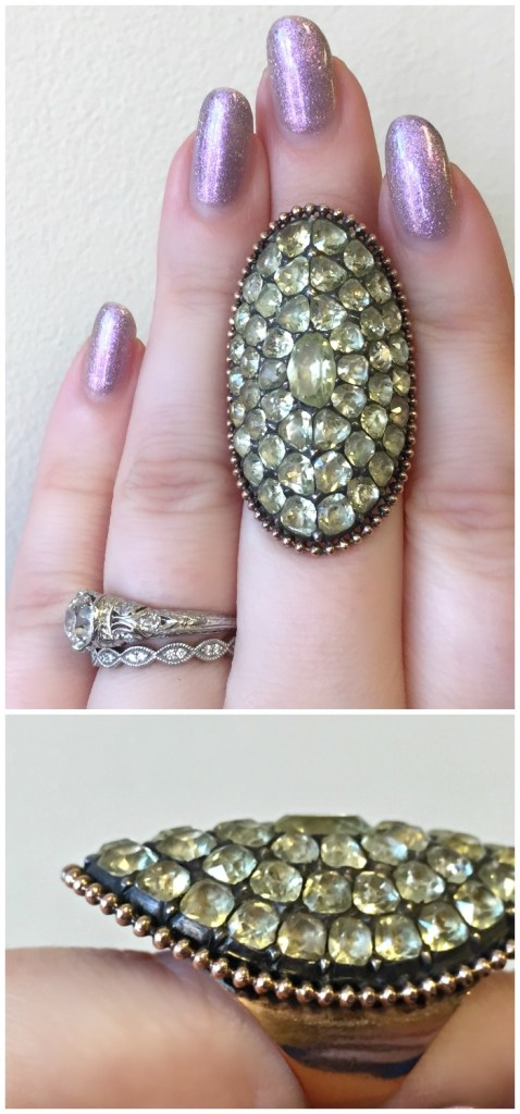 Two views of a magnificent Georgian chrysoberyl ring. At A Brandt and Son.