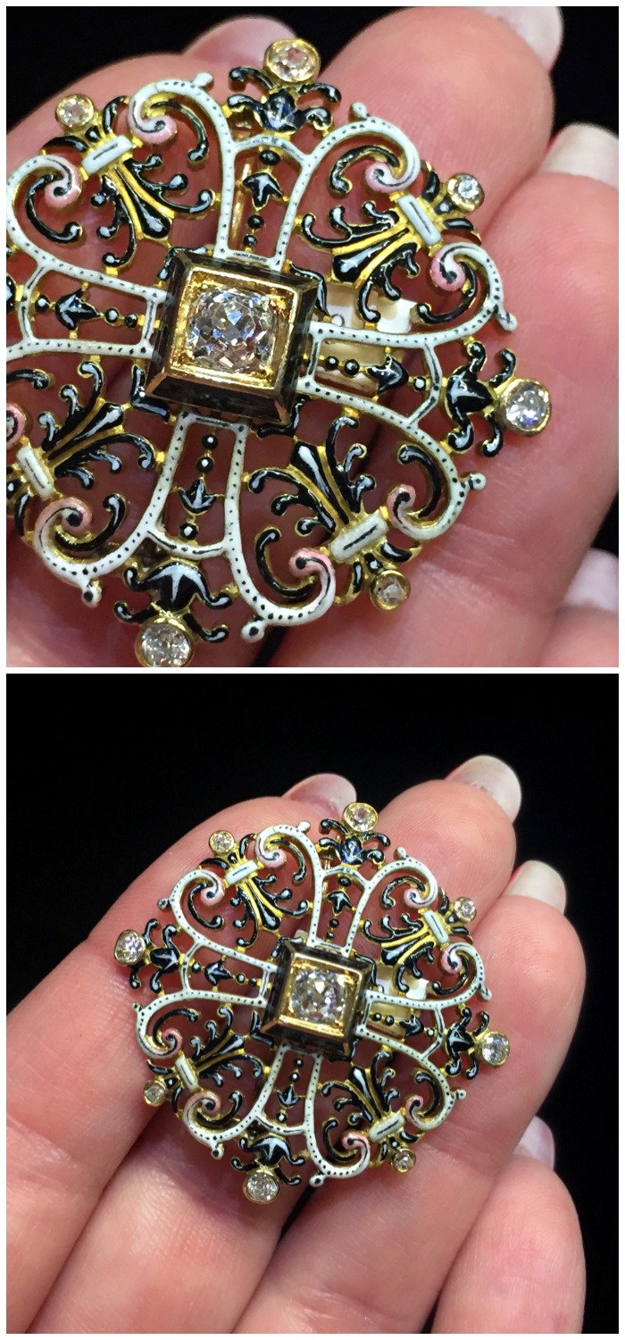 A stunning antique Renaissance Revival brooch from Humphrey Butler. Enamel on gold with diamonds.